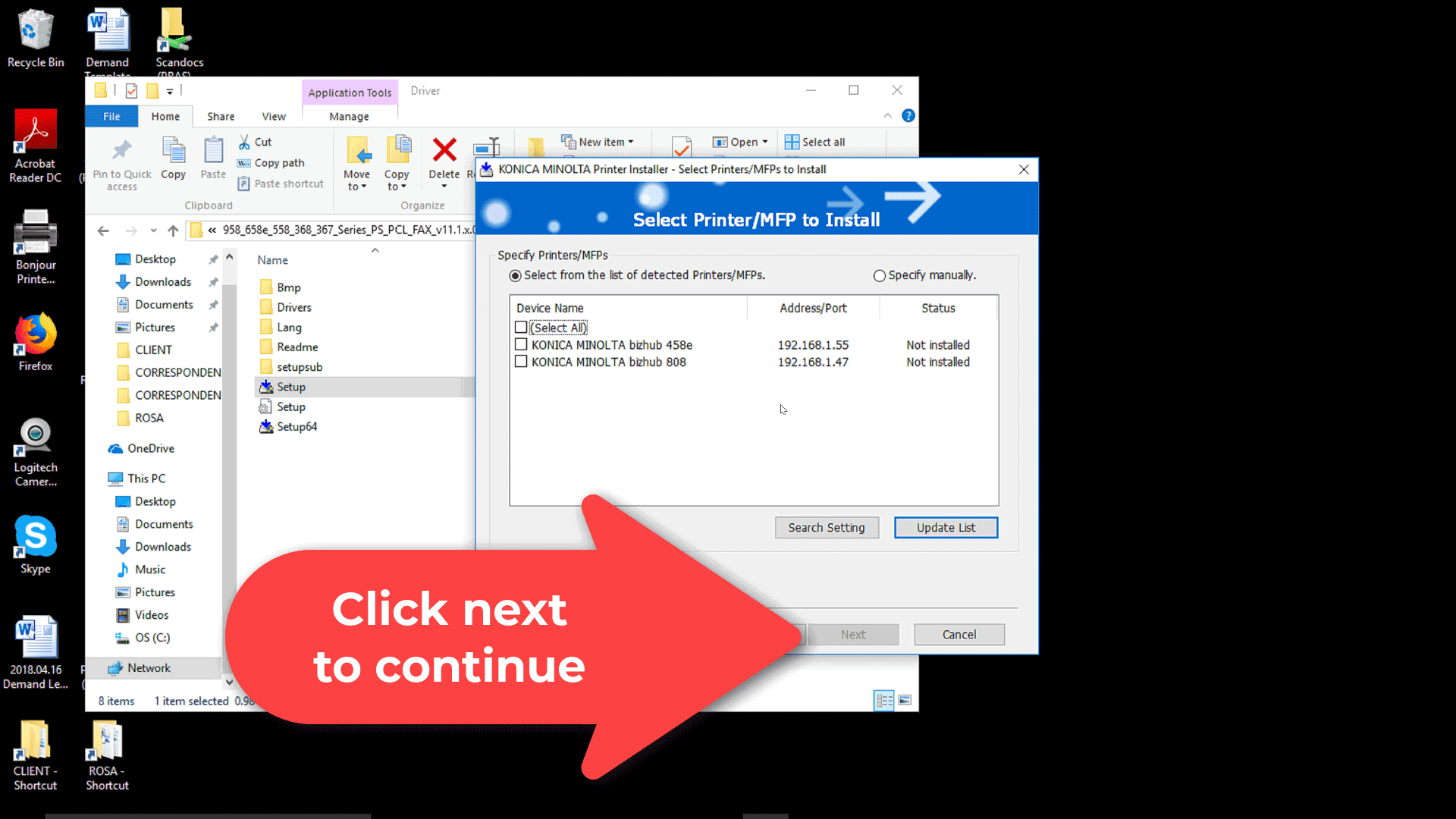 Click next to start the BizHub MFP network fax driver setup